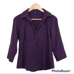 Reitmans Purple Shirt 3/4 Sleeve V Neck Buttons